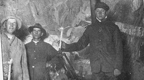 William Gilbee underground in the Unity Mine, Bendigo for the visit of the HRH Prince of Wales, 4 June 1920